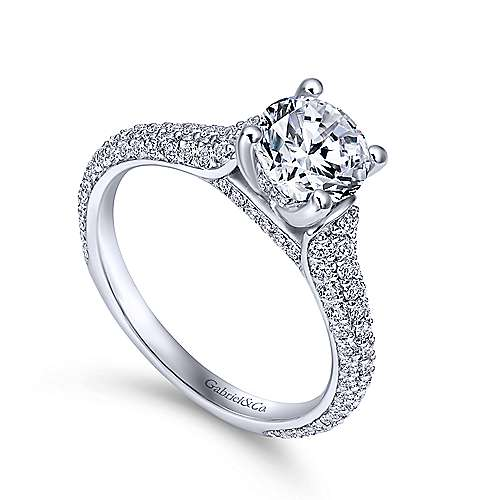 Gavin 18k White Gold Round Straight Engagement Ring angle 3