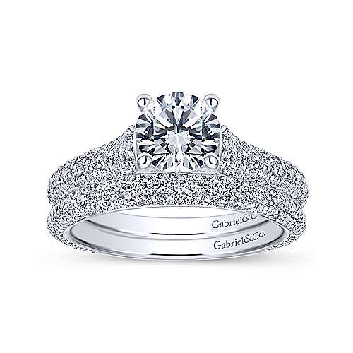 Gavin 18k White Gold Round Straight Engagement Ring angle 4