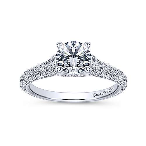 Gavin 18k White Gold Round Straight Engagement Ring angle 5