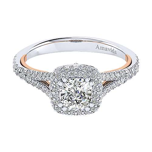 Gemma 18k White And Rose Gold Cushion Cut Halo Engagement Ring angle 1