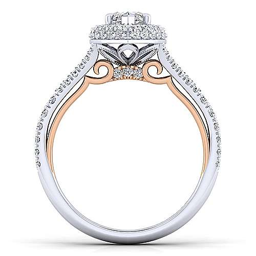 Gemma 18k White And Rose Gold Marquise  Halo Engagement Ring angle 2