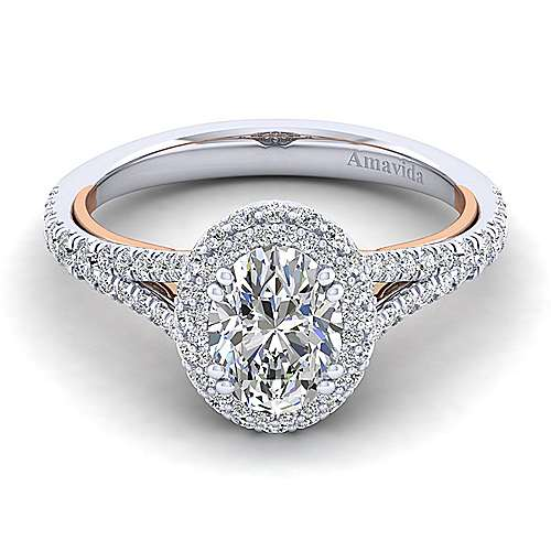 Gabriel - Gemma 18k White And Rose Gold Oval Halo Engagement Ring