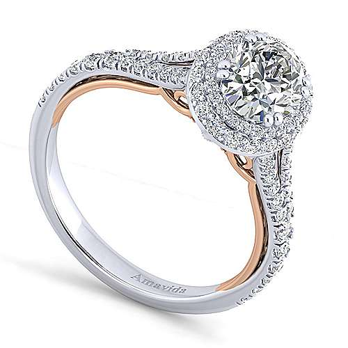 Gemma 18k White And Rose Gold Oval Halo Engagement Ring angle 3