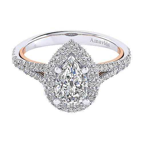 Gabriel - Gemma 18k White And Rose Gold Pear Shape Halo Engagement Ring