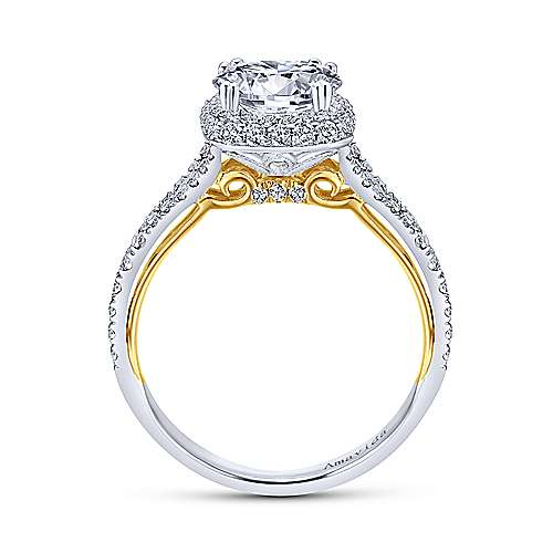 Gemma 18k Yellow And White Gold Round Halo Engagement Ring angle 2