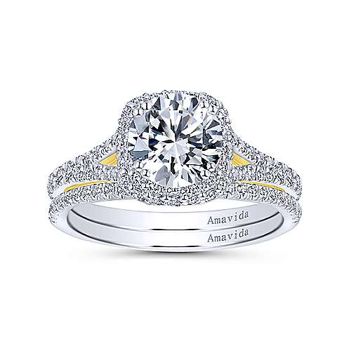 Gemma 18k Yellow And White Gold Round Halo Engagement Ring angle 4