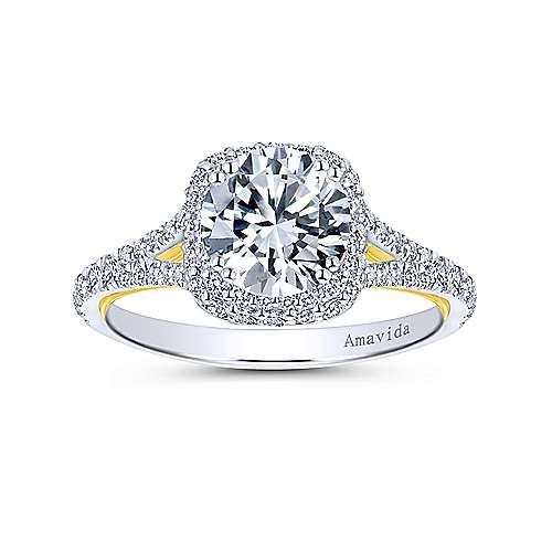 Gemma 18k Yellow And White Gold Round Halo Engagement Ring angle 5