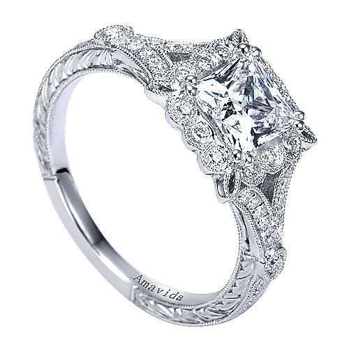 Genciana Platinum Princess Cut Halo Engagement Ring angle 3