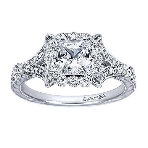 Genciana Platinum Princess Cut Halo Engagement Ring angle 5
