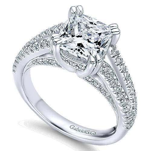 Genesis 14k White Gold Cushion Cut Split Shank Engagement Ring angle 3