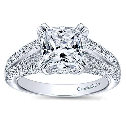 Genesis 14k White Gold Cushion Cut Split Shank Engagement Ring angle 5