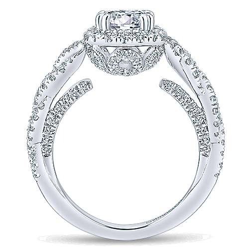 Geneva 14k White Gold Round Halo Engagement Ring angle 2