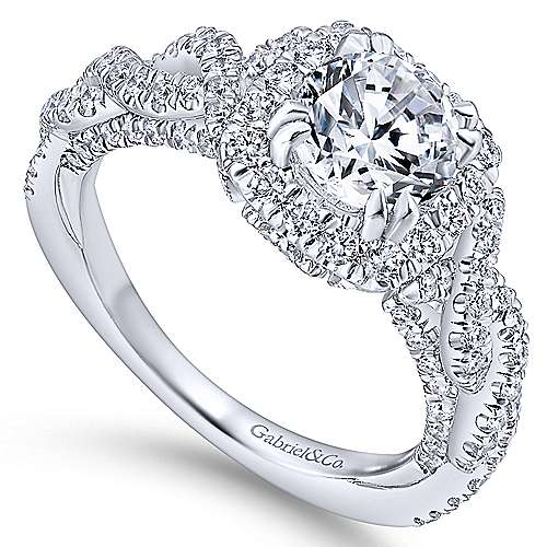 Geneva 14k White Gold Round Halo Engagement Ring angle 3