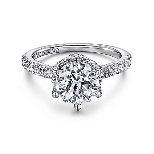 Gabriel - Genoa 18k White Gold Round Straight Engagement Ring