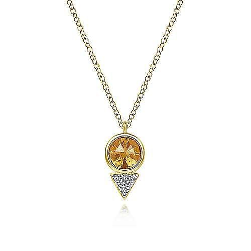 Geometric 14K Yellow Gold Citrine and Diamond Pavé Pendant Necklace