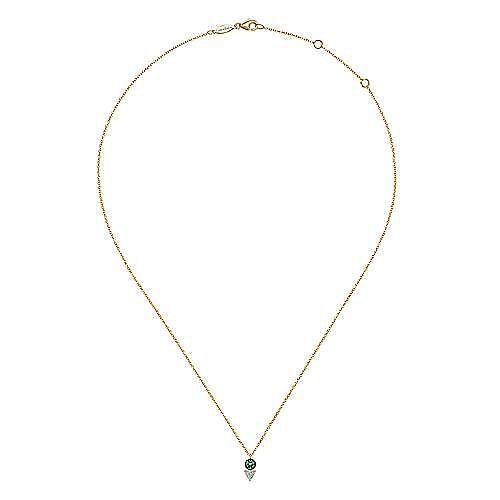 Geometric 14K Yellow Gold Emerald and Diamond Pendant Necklace