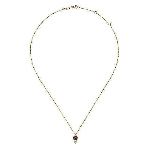 Geometric 14K Yellow Gold Garnet and Diamond Pavé Pendant Necklace