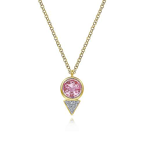 Geometric 14K Yellow Gold Pink Created Zircon and Diamond Pavé Pendant Necklace