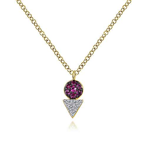Geometric 14K Yellow Gold Ruby and Diamond Pendant Necklace