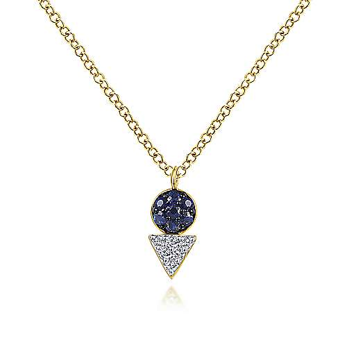 Geometric 14K Yellow Gold Sapphire and Diamond Pendant Necklace
