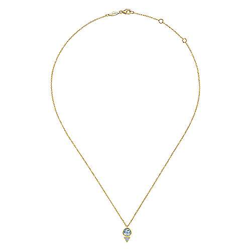 Geometric 14K Yellow Gold Sky Blue Topaz and Diamond Pavé Pendant Necklace