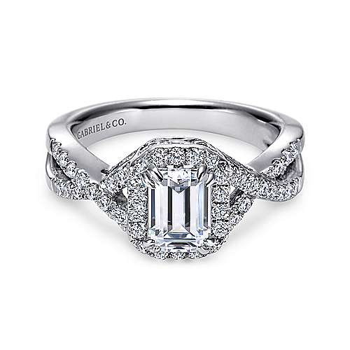 Gabriel - Georgette 14k White Gold Emerald Cut Halo Engagement Ring