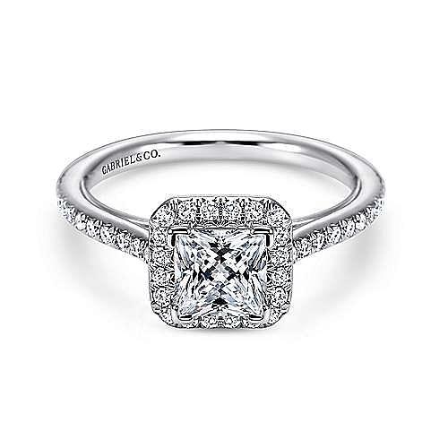 Gabriel - Georgia 18k White Gold Princess Cut Halo Engagement Ring