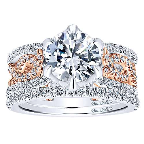 Geraldine 18k White And Rose Gold Round Twisted Engagement Ring