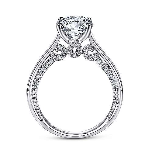 Gia 18k White Gold Round Straight Engagement Ring