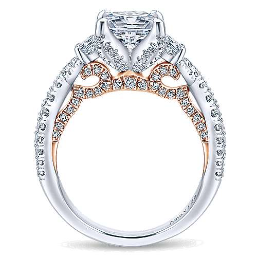Gianni 18k White And Rose Gold Princess Cut 3 Stones Engagement Ring angle 2