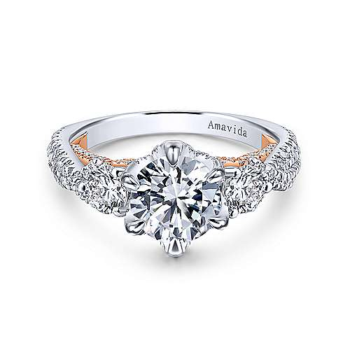 Gabriel - Gianni 18k White And Rose Gold Round 3 Stones Engagement Ring
