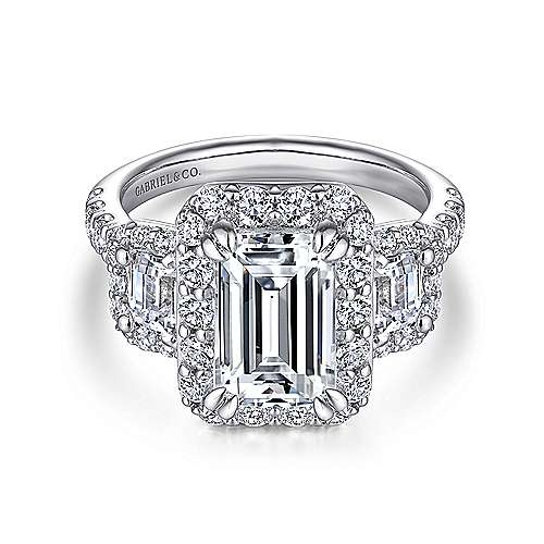 Gabriel - Gibson 14k White Gold Emerald Cut 3 Stones Halo Engagement Ring