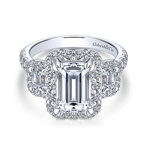 Gibson 18k White Gold Emerald Cut 3 Stones Halo Engagement Ring angle 1