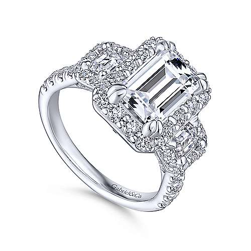 Gibson 18k White Gold Emerald Cut 3 Stones Halo Engagement Ring angle 3