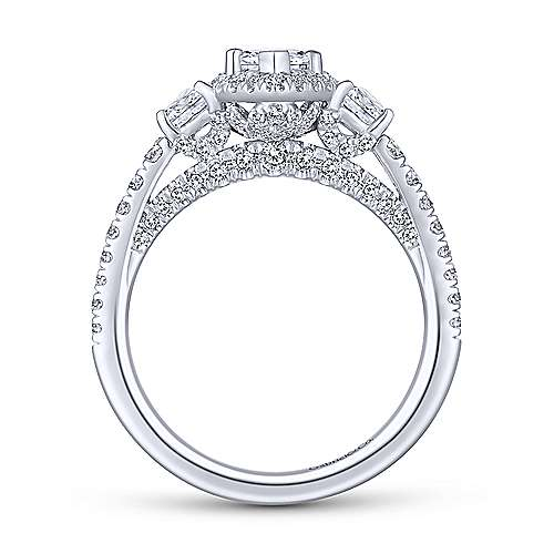 Gibson 18k White Gold Marquise  3 Stones Engagement Ring angle 2