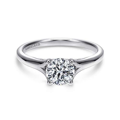 Gillian 14k White Gold Round Solitaire Engagement Ring angle 1