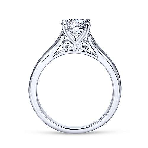 Gillian 14k White Gold Round Solitaire Engagement Ring angle 2