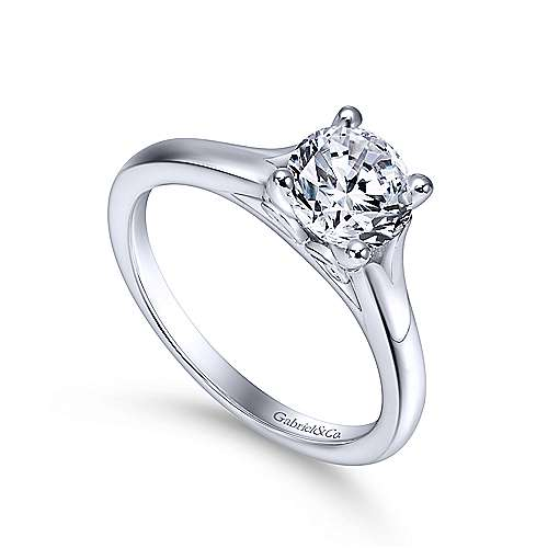 Gillian 14k White Gold Round Solitaire Engagement Ring angle 3