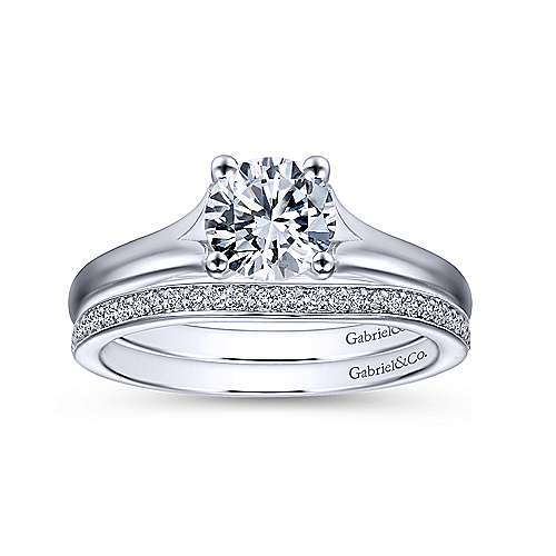 Gillian 14k White Gold Round Solitaire Engagement Ring angle 4