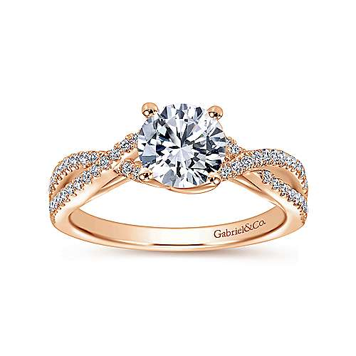 Gina 14k Rose Gold Round Twisted Engagement Ring angle 5