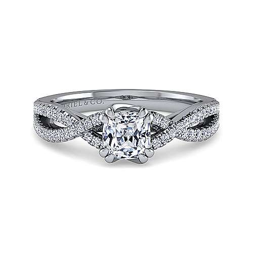 Gabriel - Gina 14k White Gold Cushion Cut Twisted Engagement Ring