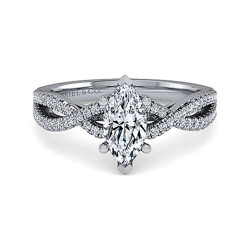 Gabriel - Gina 14k White Gold Marquise  Twisted Engagement Ring