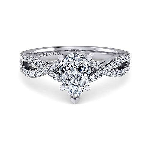 Gabriel - Gina 14k White Gold Pear Shape Twisted Engagement Ring