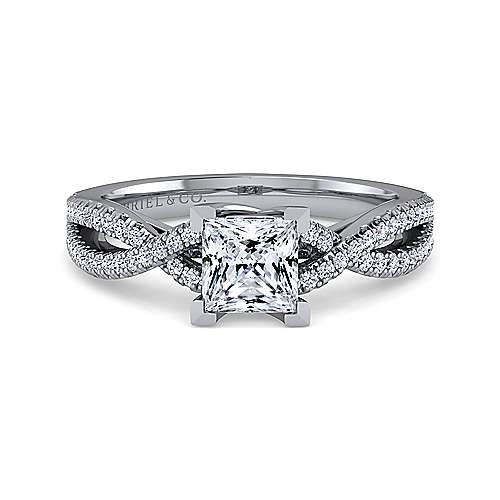 Gabriel - Gina 14k White Gold Princess Cut Twisted Engagement Ring