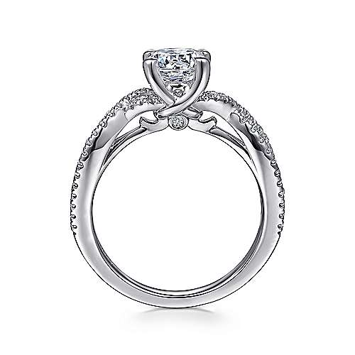 Gina 14k White Gold Round Twisted Engagement Ring angle 2