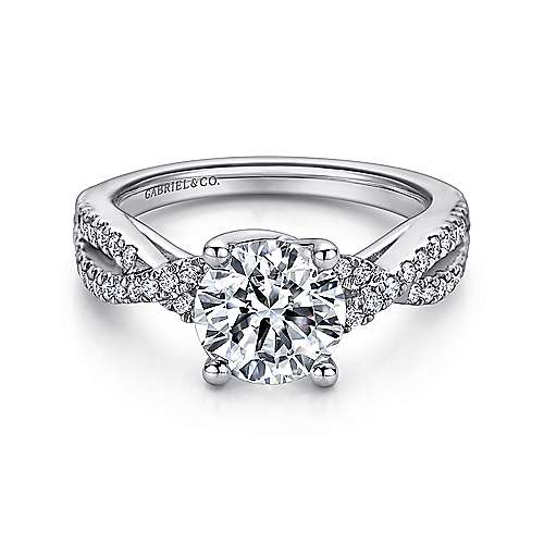Gina 14k White Gold Round Twisted Engagement Ring angle 1