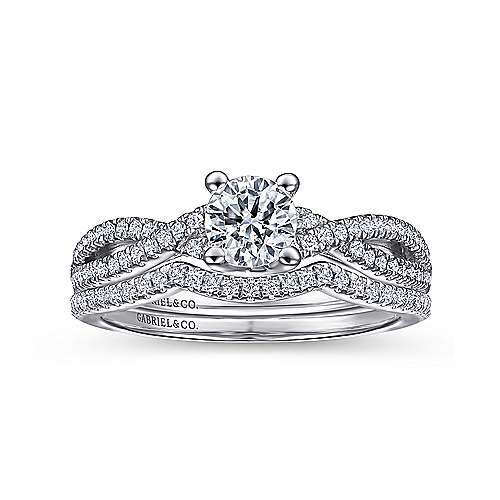 Gina 14k White Gold Round Twisted Engagement Ring angle 4