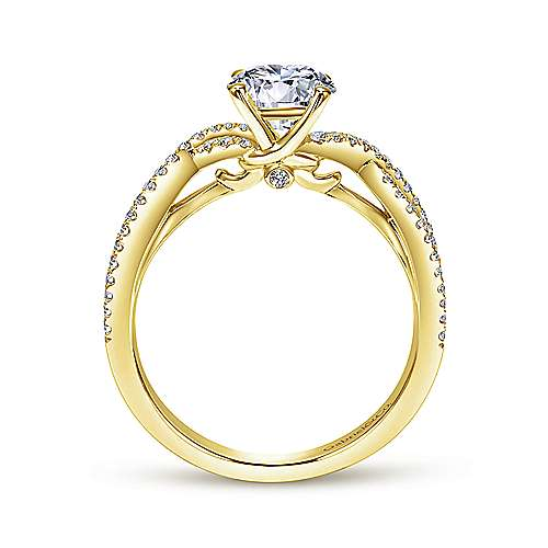 Gina 14k Yellow Gold Round Twisted Engagement Ring angle 2