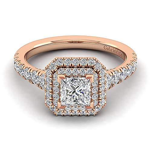 Gabriel - Ginger 14k Rose Gold Princess Cut Double Halo Engagement Ring