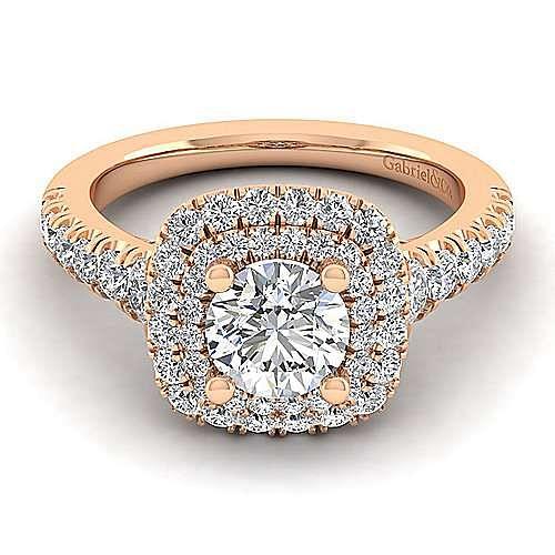 Gabriel - Ginger 14k Rose Gold Round Halo Engagement Ring